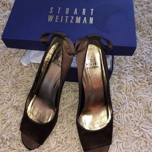 Stuart Weizman Chocolate Satin Heel